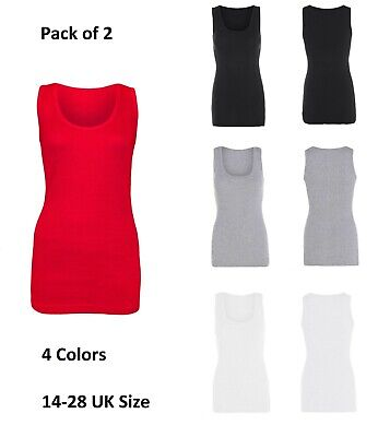 Women's Fitted Ribbed Vest Top Ladies 14-28 UK Size Pack of 2 Sleeveless 4 Color