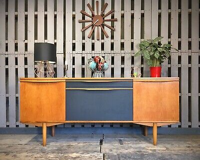 Teak & Grey Vintage Retro Sideboard Cabinet Mid Century Modern Media Unit Tv