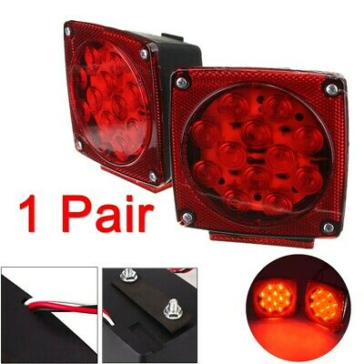 "Pair Red LED Submersible Stop Brake Trailer Tail Lights Square 80"" License"