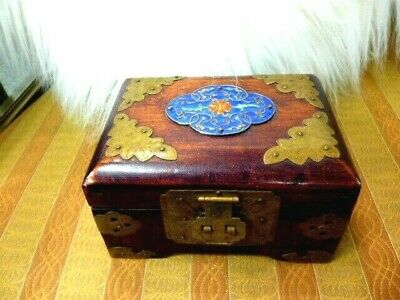Vtg Chinese Jewelry Box  Accented with Brass and Cloisonne Medallion  ""