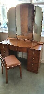 Vintage 1930s Art Deco Dressing Table with 3 Mirrors & Chair - Good Condition