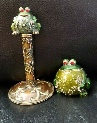 Vintage Pewter Enamel Frog Hinged Trinket Box With Matching  Perfume Decanter
