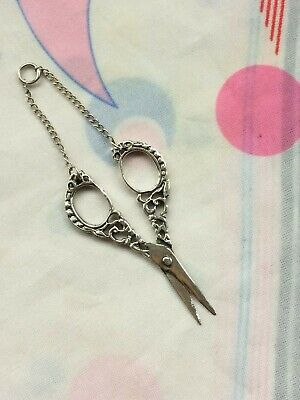 Beautiful Tiny Antique early 20th Century Silver Embroidery Chatelaine Scissors