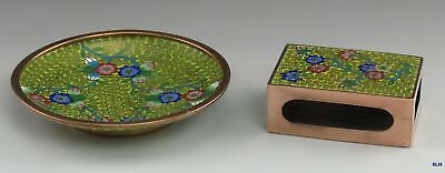 Early 1900's Chinese Cloisonné Enamel Brass Matchstick Ashtray Smoking Set