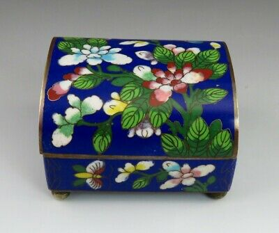 Antique c1900 Chinese Colorful Flower/Butterfly Cloisonne Enamel on Brass Box