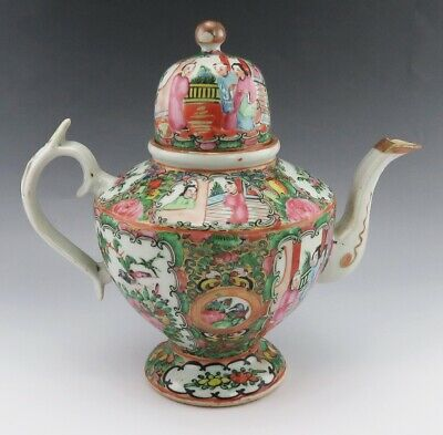 Nice Antique 1850's Chinese Export Rose Medallion Famille Porcelain Teapot w Lid