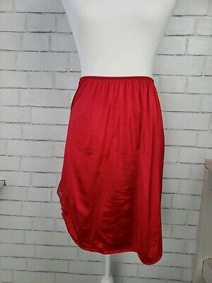 vintage VANITY FAIR cherry red USA tricot nylon LACY pin up 1/2 Slip Lingerie S