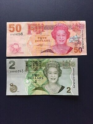 Fiji Dollar 50 & 2 Denomination Notes Depicting Portrait Of Queen E2nd