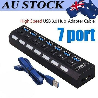 7 PortS USB 3.0 HUB Powered +High Speed Splitter Extender PC AC Adapter Cable AU