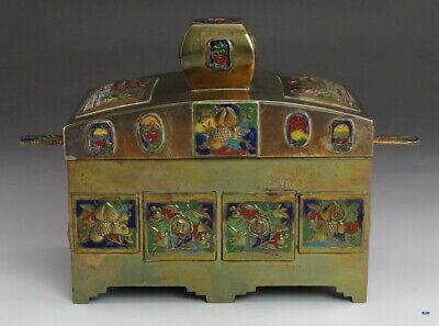 Antique c1900 Chinese Enamel Brass Covered Grand Temple Box