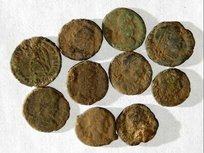 10 ANCIENT ROMAN COINS AE3 - Uncleaned and As Found! - Unique Lot 06604