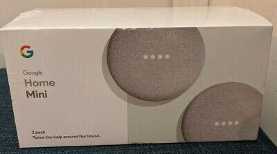 Brand New Google Home Mini Smart Assistant, Two Pack - Chalk  UPC 842776105189