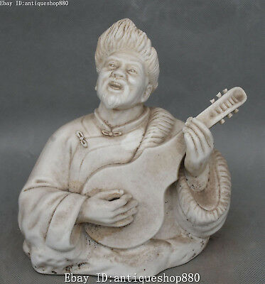 """9"""" Marked Chinese Dehua White Porcelain Old Man Person Bust Play Lute Statue"""
