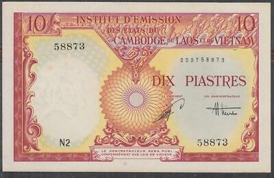 French Indochina 10 Piastres Banknote P-107 ND 1953-54 UNC