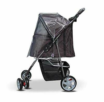 Dog stroller rain and wind cover with zipper opening, made in the UK
