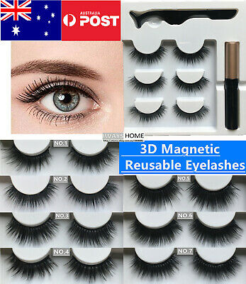 Magnetic Eyelashes Makeup Reusable False Fake Eye Lashes Eyeliner Extensions NEW