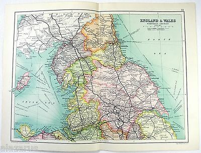 Original 1909 Map of Northern England & Wales by John Bartholomew. Antique