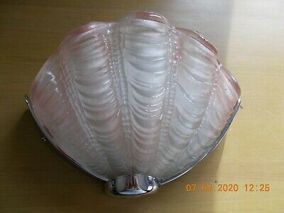 "FABULOUS VINTAGE ART DECO ODEON PINK GLASS CLAM SHELL WALL LIGHT  10"" Wide"