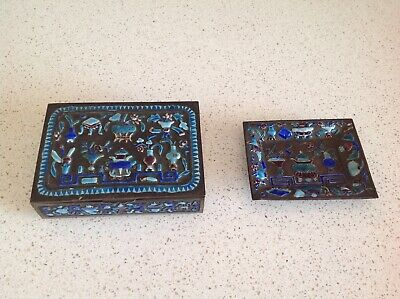 Antique Chinese Relief Enamel On Brass 2 Piece Set:tray& 1 Boxes Turquoise&Blue