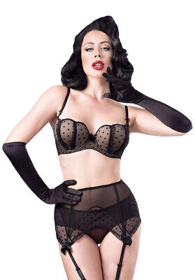 Lingerie Set 4 Parts, Black Spotted with Long Gloves Black, Pinup Retro