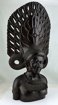 "Wood Carving Balinese ? Man Or Woman Bust Warrior Detailed Face Large 24"" Tall"