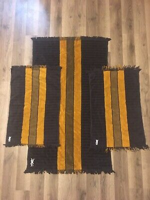 Vintage YSL Yves Saint Laurent Field Crest Towel Set Of 3
