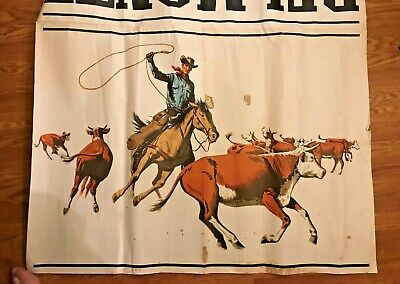 1965 LARGE Cowboy Cattle Del Monte Round-Up 6' by 4' Store Display Piece