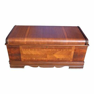 Vintage Art Deco Waterfall Cedar Hope Chest Blanket Storage Trunk Bed Bench