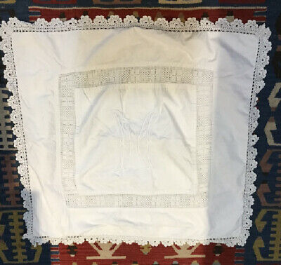 """Antique Lace Pillow Sham ~ Embroidered """"M"""" ~~ 32"""" X 32"""" Excluding Crocheted Edge"""