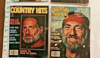 2 Willie Nelson Cover Photo Magazines Country Hits & Song Round Up 1980 Complete