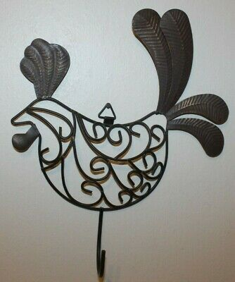 Metal Wire Rooster Wall Mount Kitchen Decoration with Hook.
