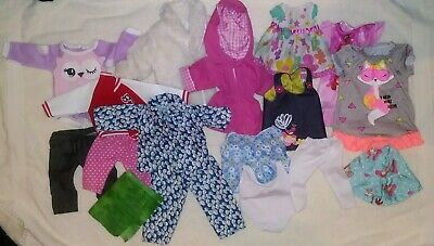 "Lot of 16 18"" Doll Clothes Pants Jeans Robe Rain Coat Dresses Disney Nighty MISC"
