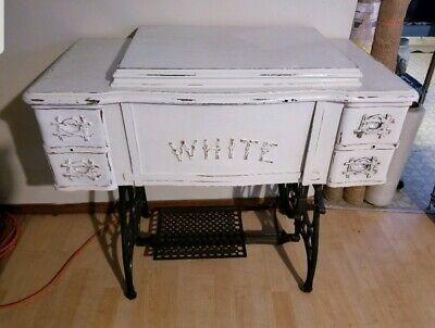 Antique 1900s white Treadle Sewing Machine Drawer Cabinet converted desk shabby