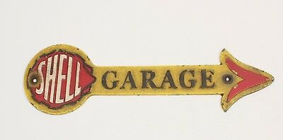 Shell Oil Cast Iron Arrow Garage Fuel Sign With Wear