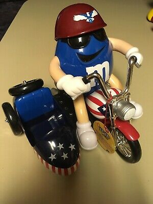 M & M Candy Dispenser Freedom Rider Motorcycle Side Car Original Blue Mars Inc