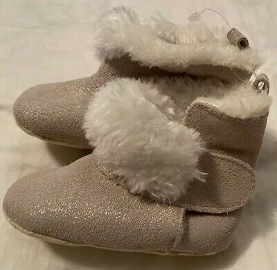 Gorgeous New Baby Girls Silver Sparkle Leather & Faux Fur Pram Booties