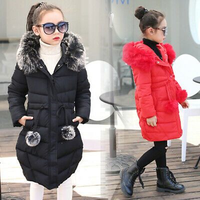 Girls Kids Padded Coat Jacket Quilted Faux Fur Hooded Long Parka Winter Overcoat