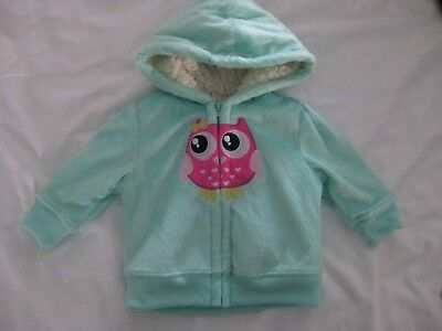 Adorable Baby Girl Super Soft Zip Up Hoodie with Owl by Healthtex Baby 3-6mo NEW