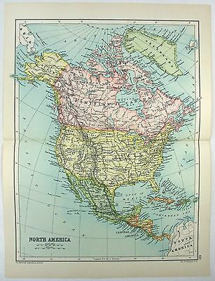 Original 1909 Map of North America by John Bartholomew & Co. Antique