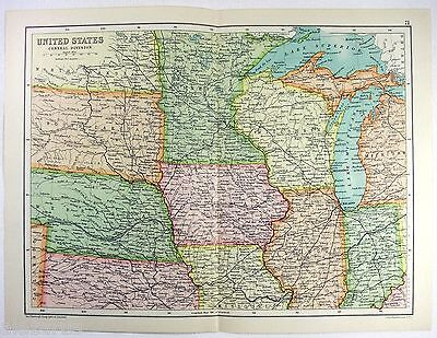 Original 1909 Map of The Midwestern USA by John Bartholomew. Antique