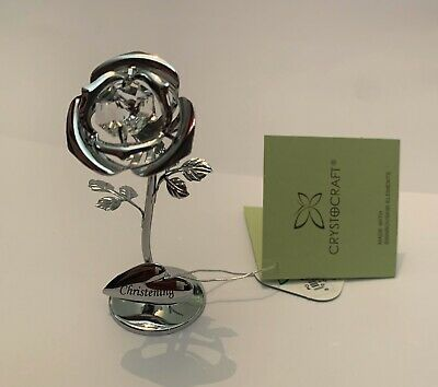 Crystocraft Christening Silver Rose Flower Swarovski Keepsake Ornament Gift