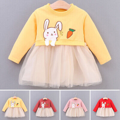 Cute Toddler Kids Baby Girl Autumn Cartoon Rabbit Princess Dress Outfit Clothes