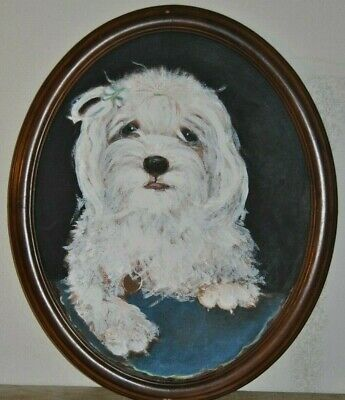 ANGEL Shih Tzu Dog Acrylic Painting By Leean Swanson  in Oval Framed