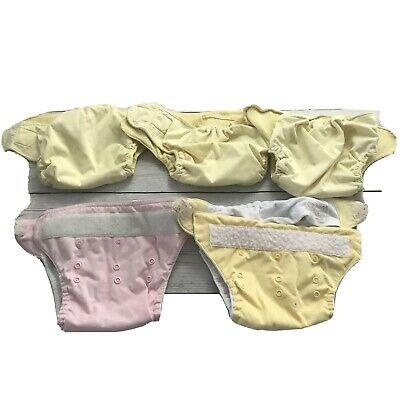 Lot of 5 Mixes Bum Genius Unbranded Cloth Diapers Snap Pocket Covers Yellow Pink