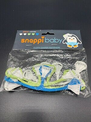 Snappi Baby Cloth Diaper Fasteners - Pack of 5, Size 1 - Green, Blue, White BOY