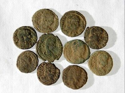 10 ANCIENT ROMAN COINS AE3 - Uncleaned and As Found! - Unique Lot 06804