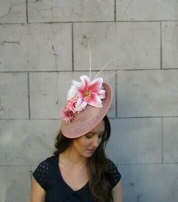 Nude Pink Dusky Blush Pink Cream Lily Rose Flower Hat Fascinator Big Large 0076