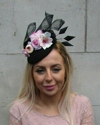 Black Blush Pink Light Nude Pink Flower Feather Hat Fascinator Hair Races 0079