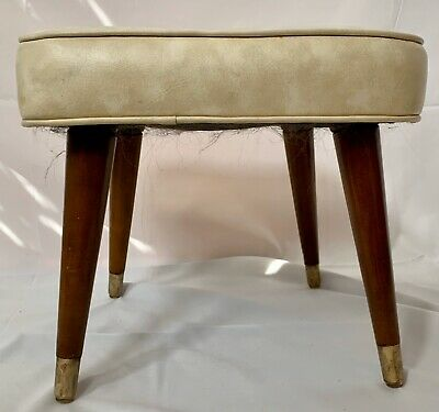 Rare Mid Century Foot Stool Ottoman Leather Brass Tipped Tapered Legs MCM Square