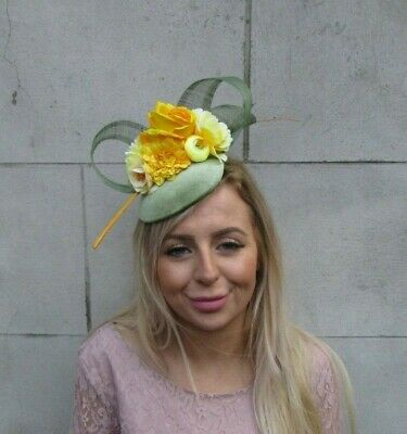 Sage Moss Olive Green Mustard & Yellow Flower Feather Hat Fascinator Races 0087